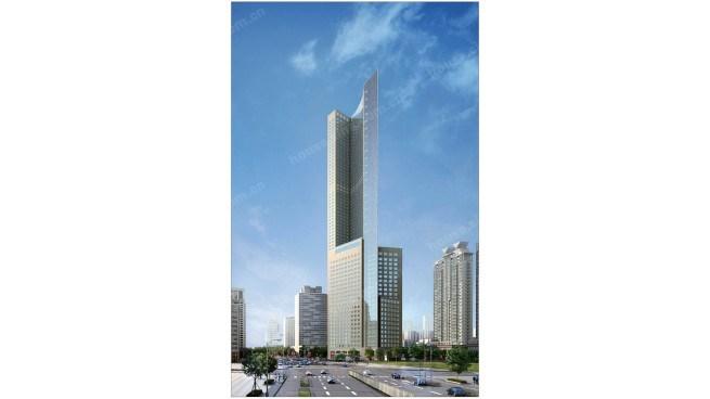 香港中路建筑综合体 青岛财富中心q1已经封顶