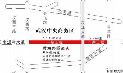 黄海路隧道二期开工 车过商务区